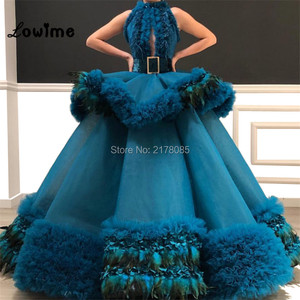 Image 2 - Custom Made Puffy Arabic Abendkleider Evening Dress 2019 Cloud Prom Dresses Robe De Soiree Longue Feather Tulle Party Gowns New