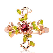Huitan Vintage Flower Ring with Red Cubic Zircon Prong Setting Rose Gold Color Fashion Cocktail Party Rings for Women&Girlfriend huitan luxury cocktail party ring creative wings pattern design vintage deep blue cubic zircon stone prong setting female ring