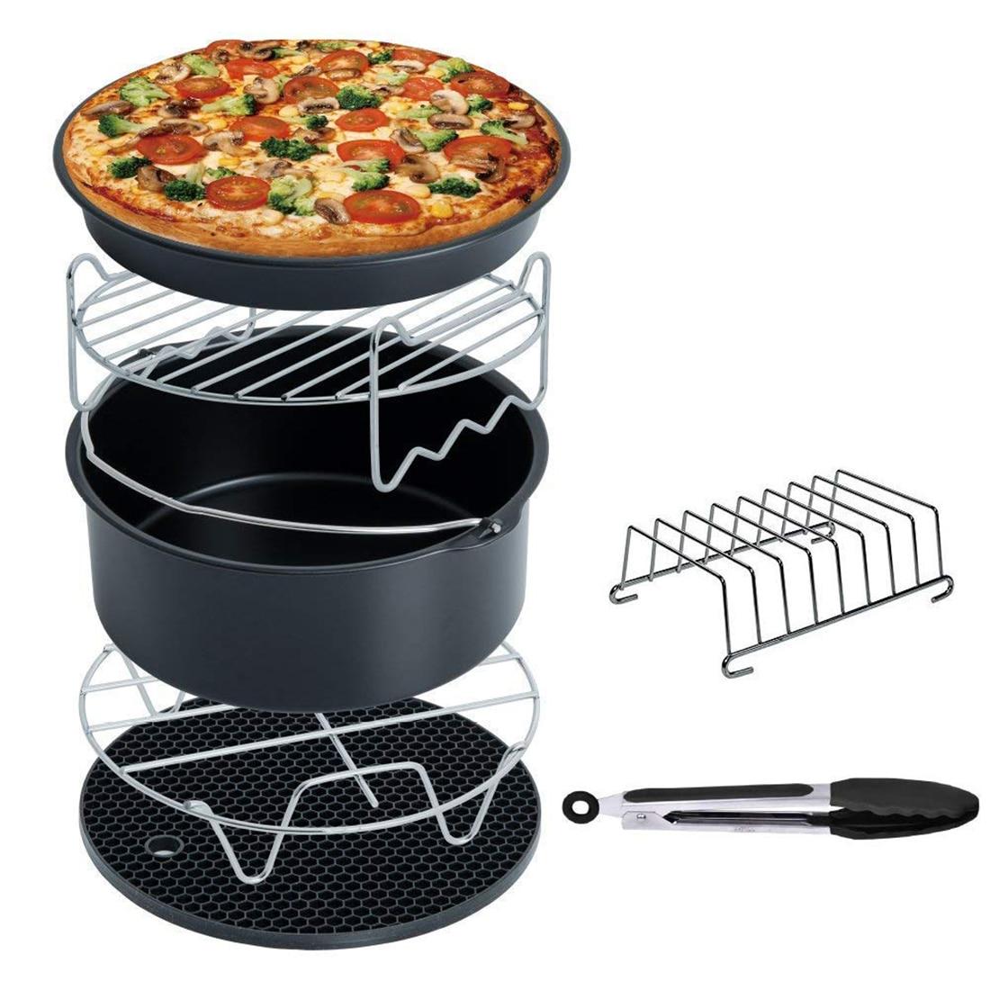 EAS-Air Fryer Accessories Deep Fryer Universal, Cake Barrel, Pizza Pan,Mat, Skewer Rack, holder Fit all 5.3Qt - 5.8Qt(XL)EAS-Air Fryer Accessories Deep Fryer Universal, Cake Barrel, Pizza Pan,Mat, Skewer Rack, holder Fit all 5.3Qt - 5.8Qt(XL)