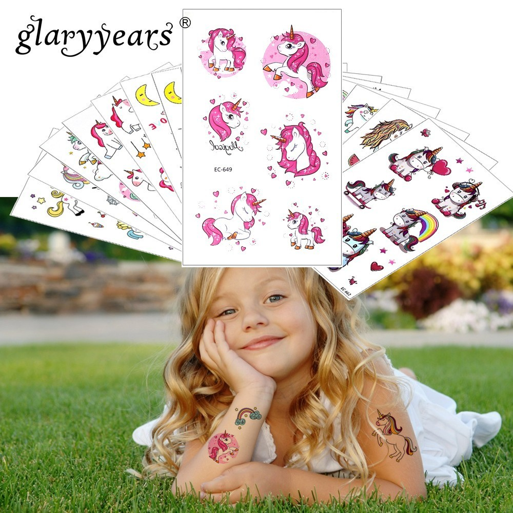 Glaryyears 1 Sheet Temporary Tattoo Sticker Colorful Fake Tatoo Unicorn Flash Tatto Waterproof Small Body Art Child 24 Designs