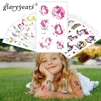 Glaryyears 1 Sheet Temporary Tattoo Sticker Colorful Fake Tatoo Unicorn Flash Tatto Waterproof Small Body Art Child 24 Designs