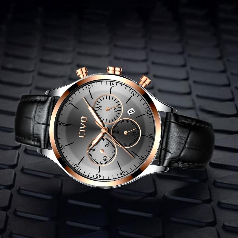 CIVO Top Brand Men Watch Luxury Waterproof Chronograph Sports Quartz Wrist Watches Gents Genuine Leather Clock