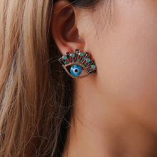 Eye Blue Zinc Alloy Trendy Vintage Cubic Zirconia Crystal Rhinestone Stud Earrings for Women