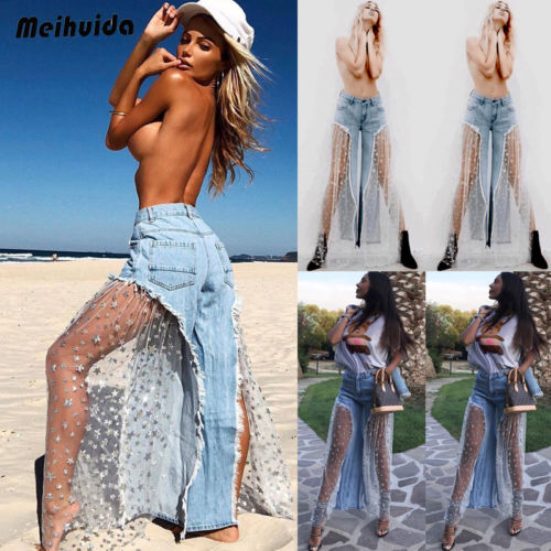 Women Ripped High Waist Flare Pants Sheer Mesh Jeans Casual Long Trousers Size S-XL