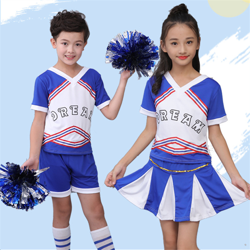 110-170cm Children Competition School Cheerleader V-neck Teenager Class Soccer Girl Costumes for Kids Dancing Clothing Outfits