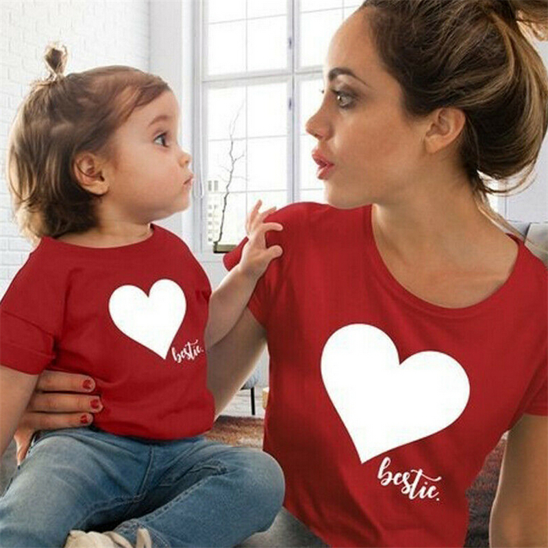 Summer Mommy And Me Clothes Heart Print T Shirt Family Costumes Baby And Mom Matching Clothes Mommy Daughter Matching Outfits