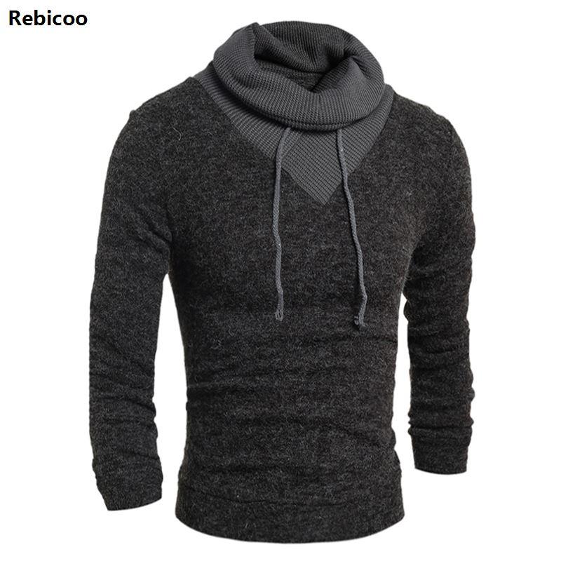 Sweater Pullover Men 2019 Male Brand Casual Slim Sweaters Men Soild Color Hedging Turtleneck Men'S Sweater V Neck Long Sleeve