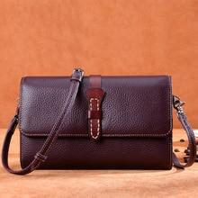 цена на Genuine Leather Cowhide Women Wallet Shoulder Purse With Card Holder Passcard Pocket Photo Holder Coin Pocket