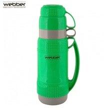 Термос со стеклянной колбой  Webber 31001/3S  1,0 л, зеленый, с узкой горловиной со стеклянной колбой предназначен для хранения и розлива горячих и холодных напитков, заваривания чая и различных травяных сборов