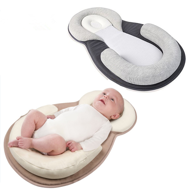 0 12 Months Gray Portable Baby Crib Sleeping Positioner Pillow Prevent Head Sleep Cushion Infant Positioning Newborn YYT343 in Pillow from Mother Kids