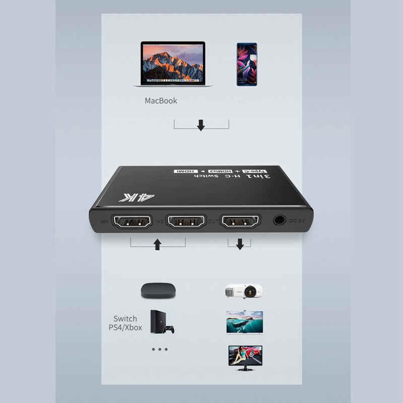نوع C المدخلات البسيطة Hdmi مكبر للصوت التبديل ، 1 ميناء USB C و 3 منافذ Hdmi 4K x 2K الجلاد الخائن مربع جدا HD ل Macbook_Pro DVD