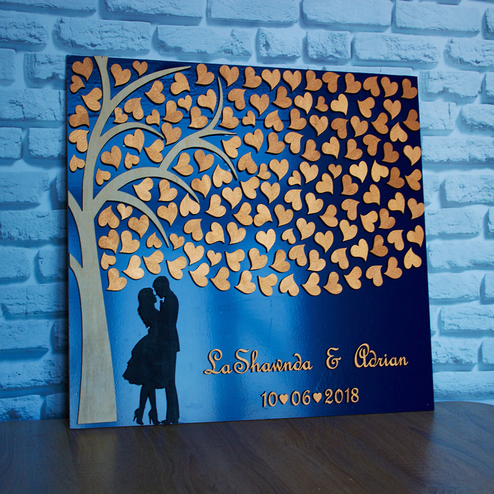 Personalized Wedding Guest Book Tree ,Rustic Hearts Guestbook Ideas,Custom Alternative 3D Wedding Guest Books With Names Date image