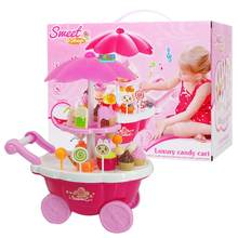 Candy Cart Kids Toys With Light Music and Ice Cream Shop Supermarket Trolley for Your Baby(China)