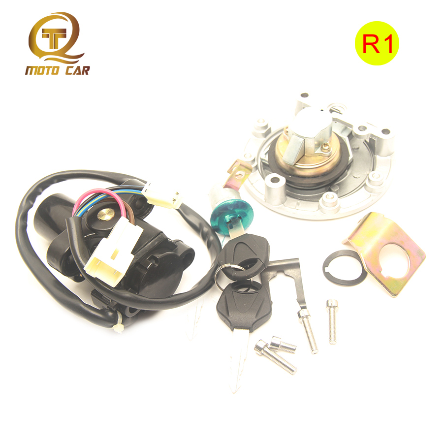 Motorcycle Ignition Switch Gas Cap Cover OIL Seat Lock Keys Set Fits For YAMAHA R1 YZF1000 R1 04-2008 YZF600 R6 2003 2004-2013