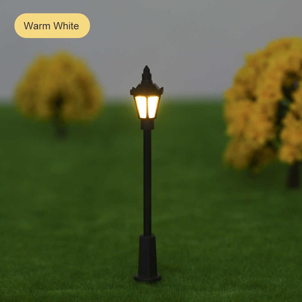 20 sztuk Model światła uliczne układ latarni kolej pociąg do zabawy w ogrodzie dekoracje lampa Led oświetlenie 1:150/100/75 skala biały