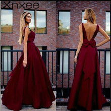 2018 Sexy V-Neck Pleated Maxi Backless Bow Dress Elegant Women Formal Prom Party Maxi Dresses Red A-Line Vestidos De Fiesta alagirls sexy backless mermaid prom dresses 2019 v neck evening dress vestido de fiesta formal party dress vestido de noche