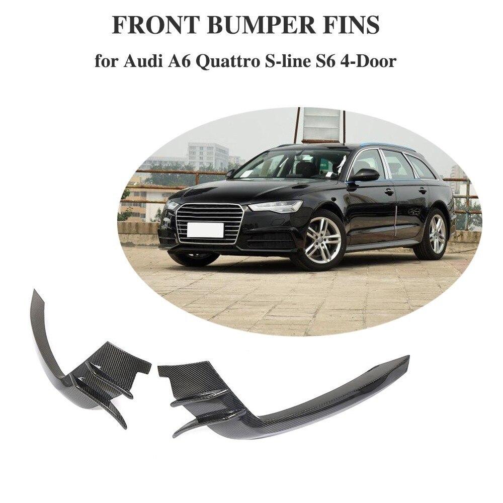 Pour Audi A6 Sline/S6 2015-2018 Pare-chocs Avant Vent Fender Trim Autocollant Décoration En Fiber De Carbone