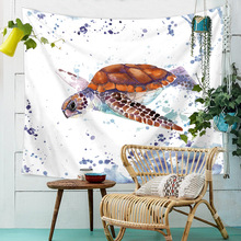 Printed Turtle Jellyfish Wall Hanging Tapestry Hippie Watercolor Whale Landscape Bohemia Cloth Tapestries Carpet Throw Rugs