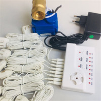 HIDAKA Wired Water Leak Detector Alarm with Auto Shut off BSP NPT Valve 8pcs 6m Sensor Cable Alarm System 3/4(DN20*1pc)