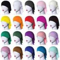 20 Colors Ramadan Modal Muslim Women Inner Hijab Caps Islamic Underscarf Hats Ninja Hijab Plain Hair Loss Hat Niquabs Bonnet New