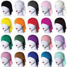 20 kolory Ramadan modalne muzułmanki wewnętrzny hidżab czapki islamski Underscarf kapelusze Ninja hidżab zwykły utrata włosów kapelusz Niquabs Bonnet nowy