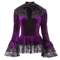 2pcs women vintage coat jacket autumn punk Gothic Victorian elegant belt Velvet Top Lace Cape Steampunk Theater Clothing tops