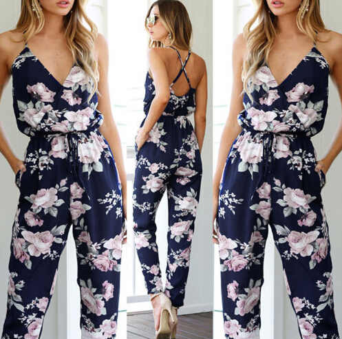 Women Clothes Playsuit Bodycon Party Jumpsuit Romper Trousers Backless V-neck Women's Floral Clubwear Summer
