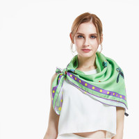 [XiuKe] scarves 2017 new women squares fashion silk scarf Luxury ladies scarf green scarf colors butterfly