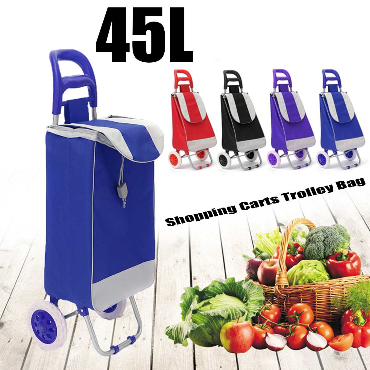 45L Foldable Shopping Trolley Bag On Wheels Push Tote Cart Carts Trolley Bag Basket Luggage Wheels Oxford Fabric Floding