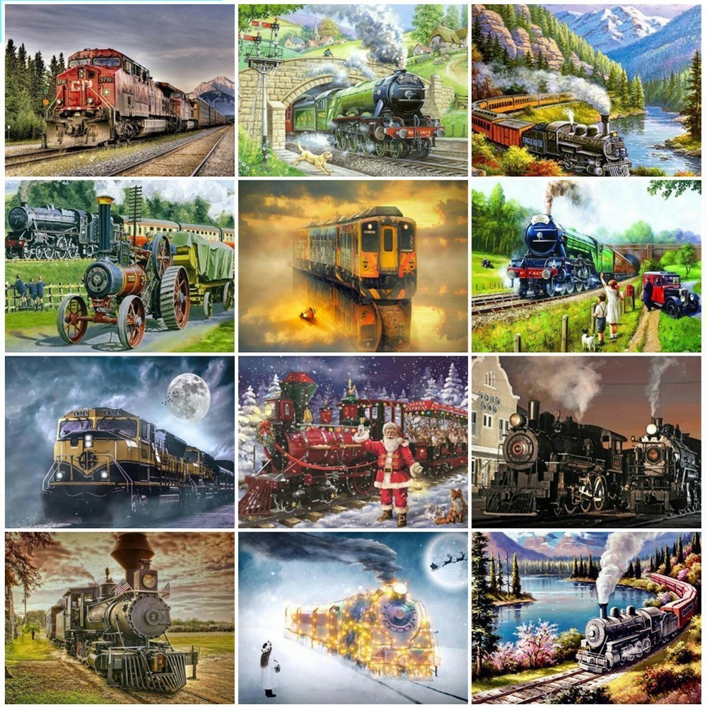 HUACAN 5D DIY Diamond Embroidery Landscape Diamond Painting Full Square Train Mosaic Picture Of Rhinestone Home Decor Gift