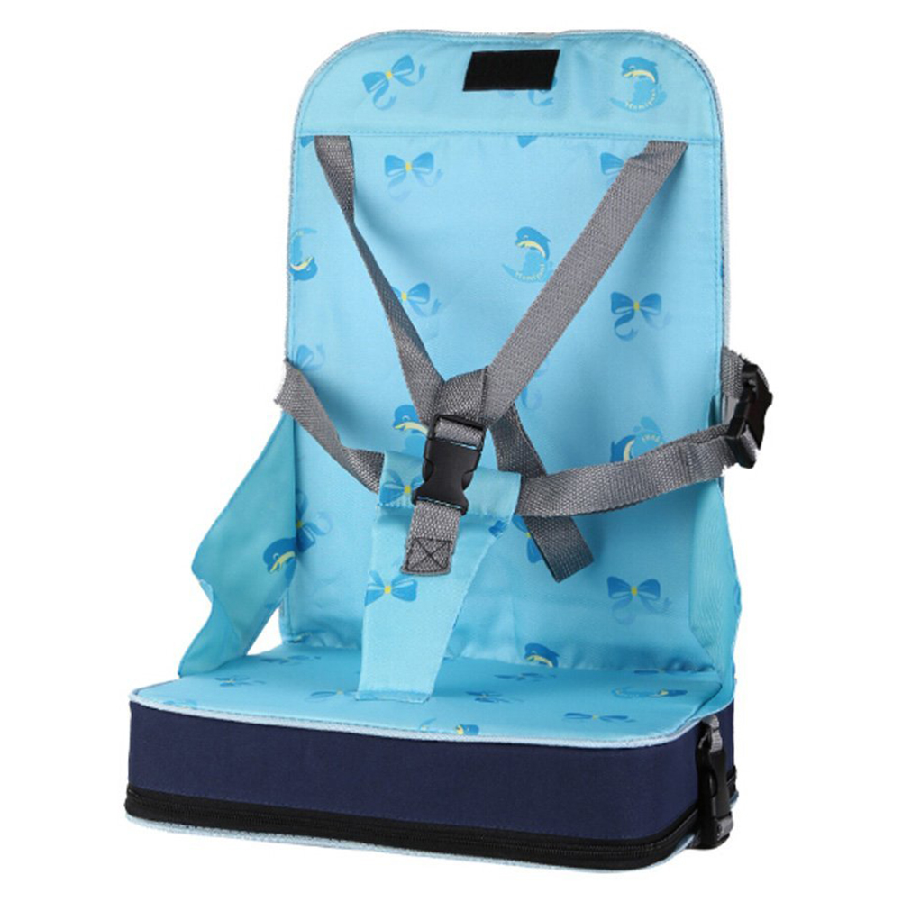 Blue Portable Folding Dining Chair Seat 30 * 25 * 8cm (11.8 X 9.8 X 3.1 Inches) Baby Travel Booster Luggage Folding Seat Highc