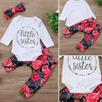 Pudcoco/Одежда для девочек; топы для маленьких девочек; комбинезон с цветочным принтом; штаны; комплект одежды из 3 предметов