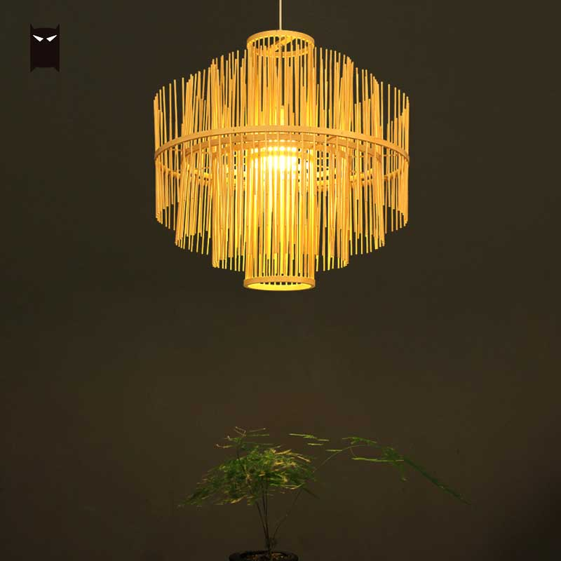 Natural Black Bamboo Wicker Rattan Waterfall Pendant Light Fixture Rustic Asian Hanging Ceiling Lamp for Restaurant Dining Room|Pendant Lights| |  - title=