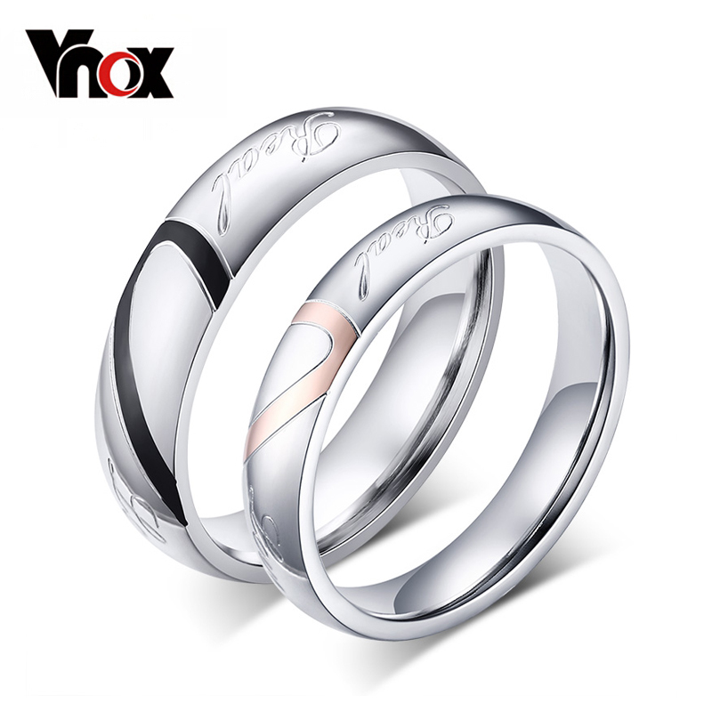 Vnox Wedding-Rings Gift Engrave-Name Promise Heart Classic Personalized Women Love