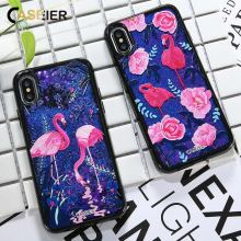 CASEIER Flamingo Phone Case For iPhone 6 6s 7 8 Plus Liquid Glitter Sand Bag For iPhone 7 8 Plus X Quicksand Capinha Funda Cover for iphone x 6 6s 7 8 plus case fashion girl chat page coffee cup liquid quicksand silicone cover for iphone 8 plus phone bag
