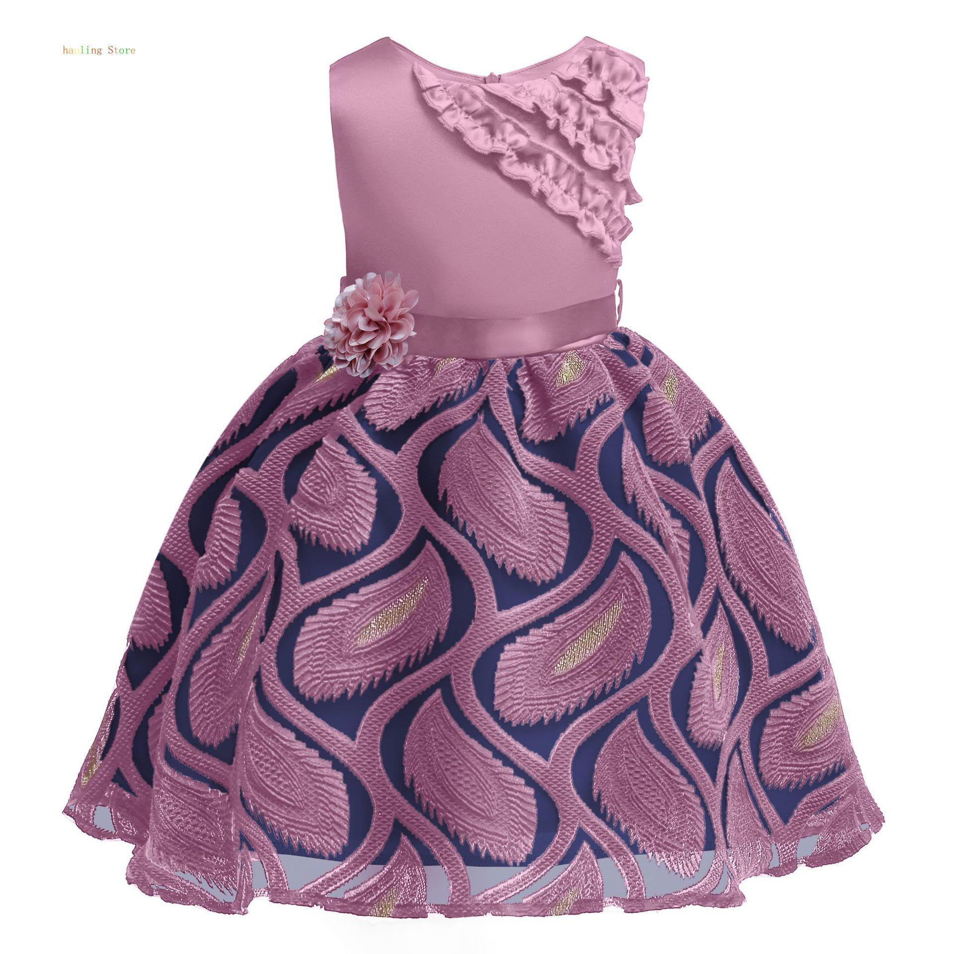 Kids Dresses For Girls Dress Elegant Sleeveless Flower Pattern Princess Girl Party Summer Clothing Free Shipping