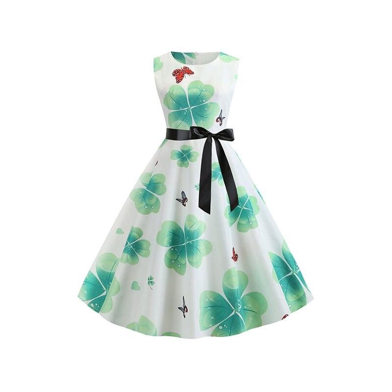 Été Vintage robe femmes vert doux mode Animal imprimé plante école décontracté vacances 2019 rétro grand Swing une ligne robes fille