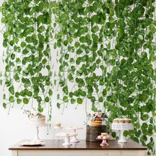 2M Fake Vines Artificial Ivy Crabapple Leaf Garland Garden Market Home Decor Plastic Foliage Wedding Decoration