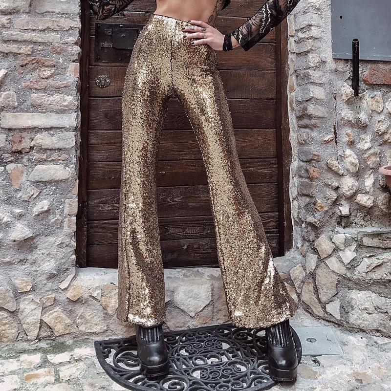 High Waist Flare   Pants   Women Zhymihr Sequins Autumn Winter Trousers   Pants     Capris     Pants   Waist, Streetwear Women Women