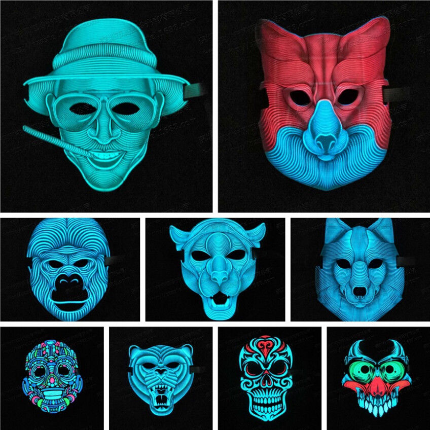 New Sound Voice Control LED Light Up Mask Glowing Cosplay Party Mask