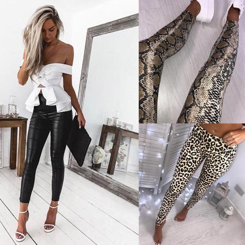 Black PU Leather Leggings And Casual Polyester Leopard Snake Print Leggings Pants Women High Waist Stretch Slim Pencil Pants