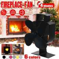 Household 4 Blade Heat Powered Stove Fan Log Wood Burner Eco Friendly Quiet Home Fireplace Fan Heat Distribution Fuel Saving