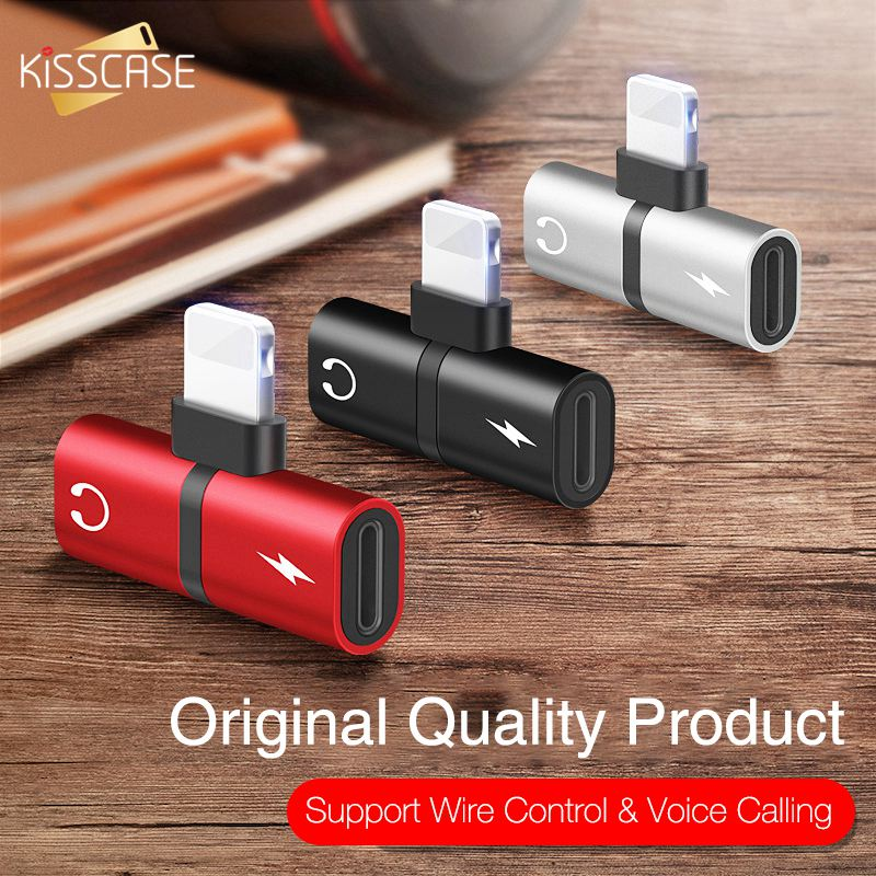 KISSCASE 2 In 1 Audio Aux Adapter For IPhone 11 Pro MAX Earphone Charging Headphone Dual Adapter Splitter Converter For IPhone X