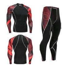 Комплект нижнего белья для лыж> Мужское зимнее Термобелье> Костюм для бега> сжатое термобелье одежда для тренировок 4XL