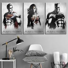 3 Piece HD Pictures Batman Vs Superman Movie Poster Artwork Black White Wall Art Paintings for Room Decor
