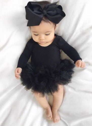 Hot Sell Toddler Newborn Baby Girl Black Long Sleeve Jumpsuit Bodysuit Tutu Dress Bowknot Headband Fashion Outfit Clothes Set in Dresses from Mother Kids
