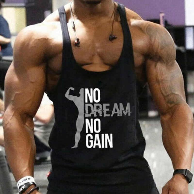 2019 Baru Merek Kedatangan Gym Otot Binaraga Tanpa Lengan Kemeja Hot Sale Tank Top Singlet Olahraga Kebugaran Cetak Rompi Hitam