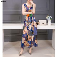 2018 New Fashion Summer Chiffon Dress Outer Space Casual Floral Print Women O Neck Printed Sexy Sleeveless Long Xnxee