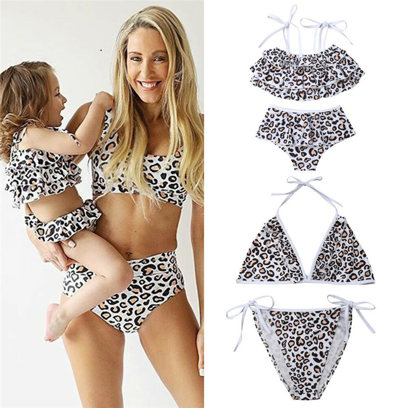 Family Matching Swimwear Two Pieces Bikini Set 2019 Newest Printed Ruffles Mommy and Me Bathing Suits Girls: 2 Years, Pink