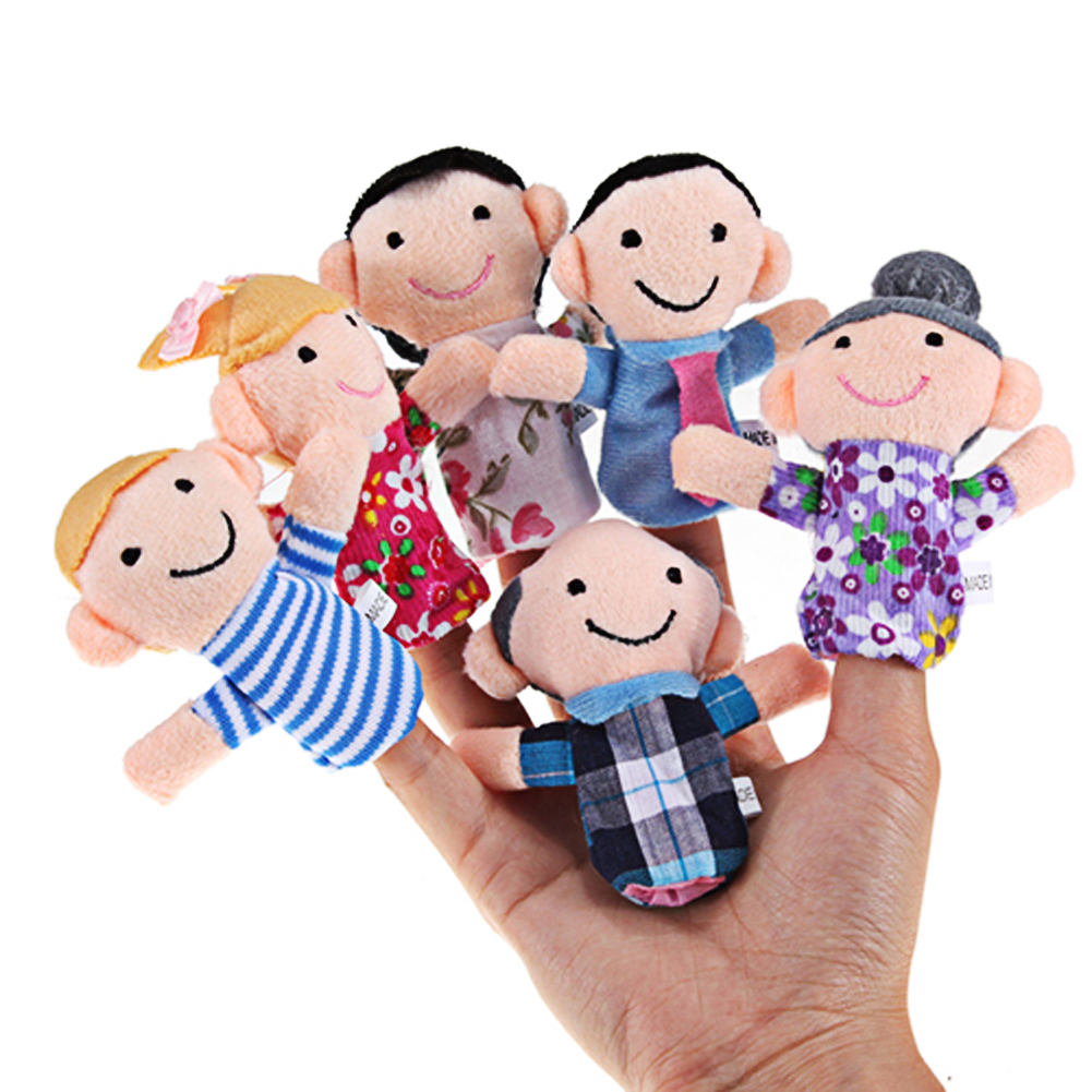 6pcs Baby Kids Plush Cloth Play Game Learn Story Family Finger Puppets Toys Child Baby Favor Dolls Drop Shipping  button